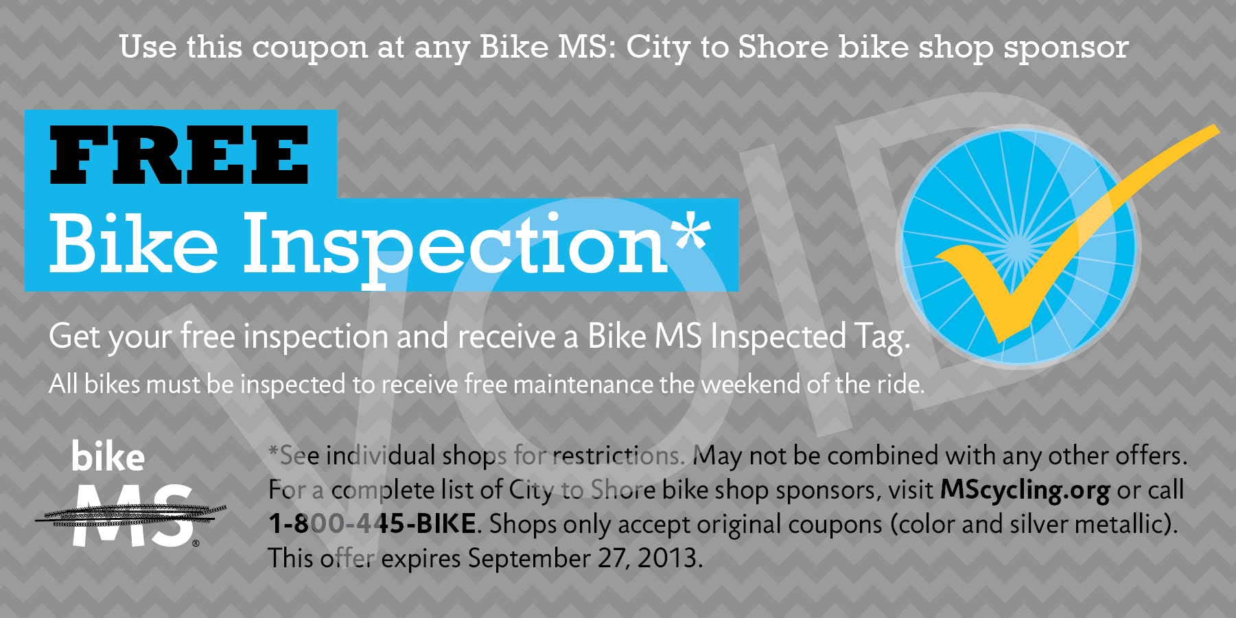 PAE 2013 City to Shore Bike Inspection Coupon